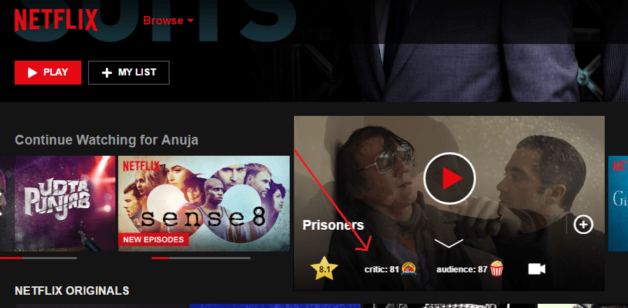 Add IMDB and Rotten tomatoes ratings to Netflix TV shows
