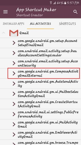 create specific activity shortcut android