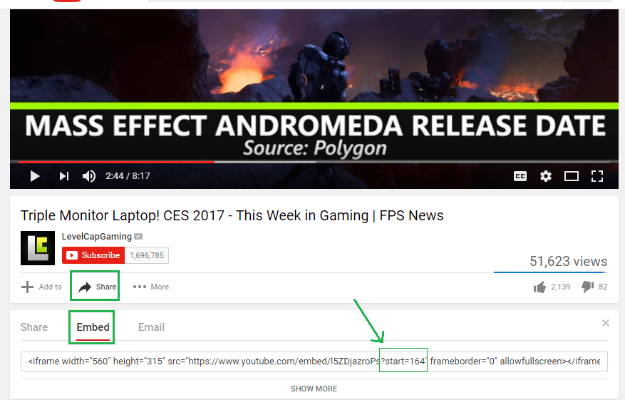 Embed YouTube Video with specific start time