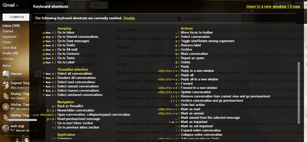 Gmail Keyboard Shortcuts Help