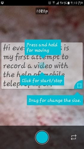 How to add teleprompter to android camera