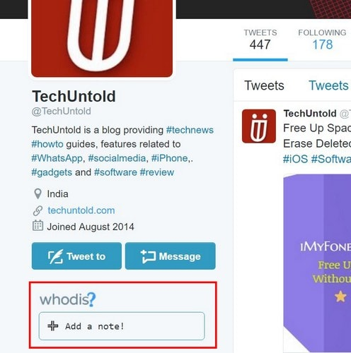 TechUntold - How to Add Note to Twitter Profile
