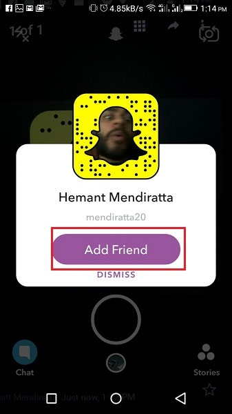 Add Friends By Snapcode using Camera