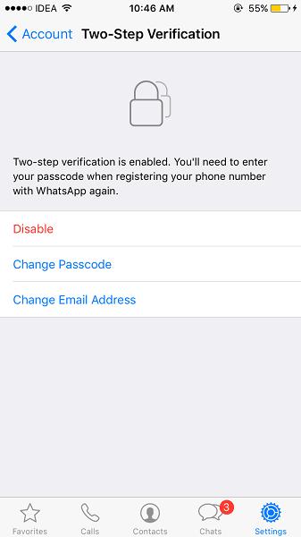 Change 2 step verification passcode WhatsApp