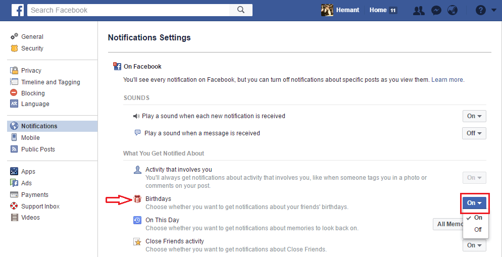 Turn On/Off Facebook Birthday Notifications on Website