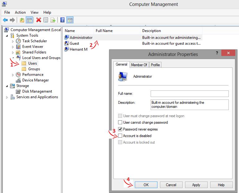 Enable Windows Administrator Account