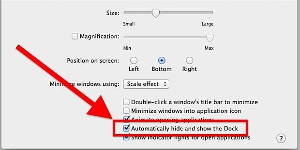 How to automatically hide the dock on Mac