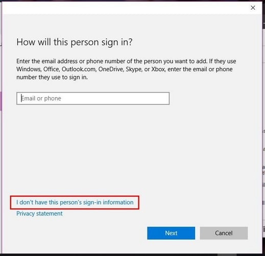 Quickly Create a New Account on Windows 10