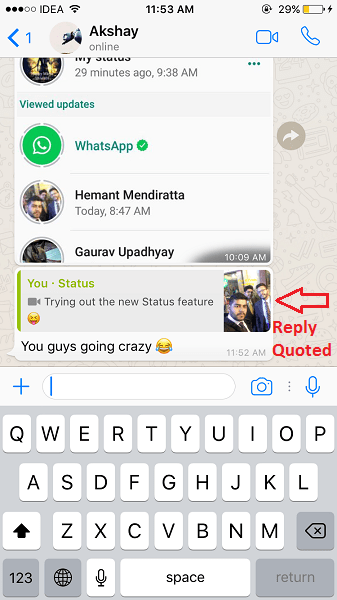 WhatsApp Status Reply Quoted in Personal Chat