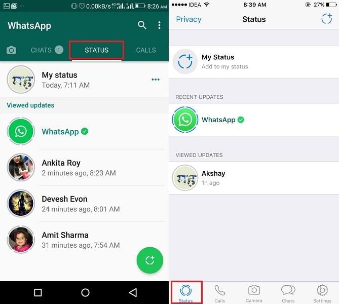 WhatsApp Status Update on iPhone Android