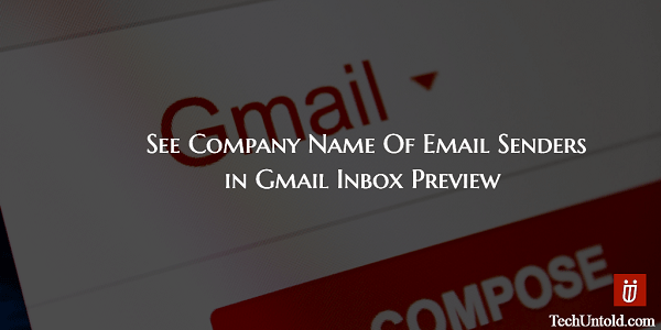 See company name of email senders in gmail