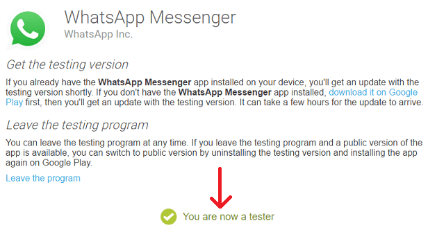 download whatsapp latest version - already a tester