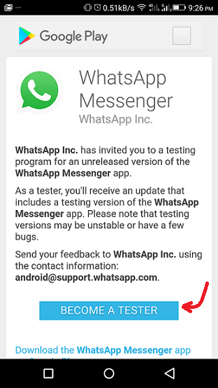 download whatsapp latest version - become tester