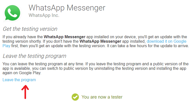 download whatsapp latest version - leave tester program