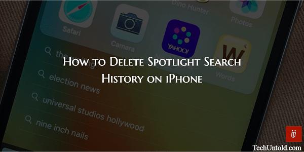 Delete Spotlight Search History on iPhone/iPad
