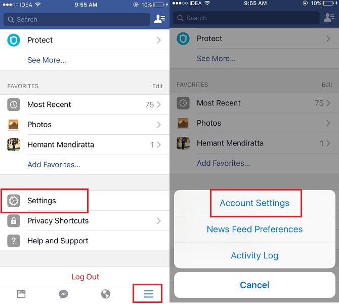 Facebook iOS App Settings