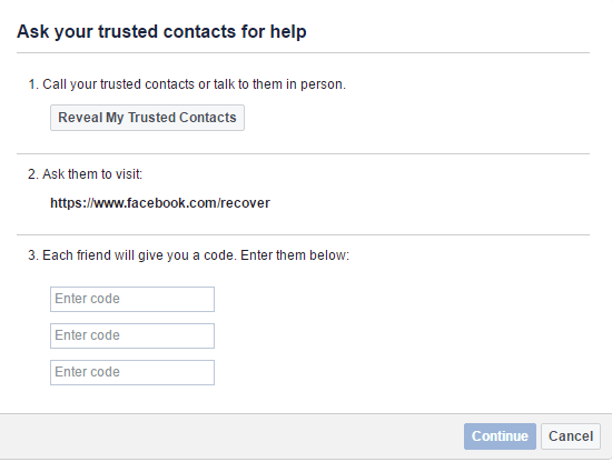 Facebook trusted contacts to secure account