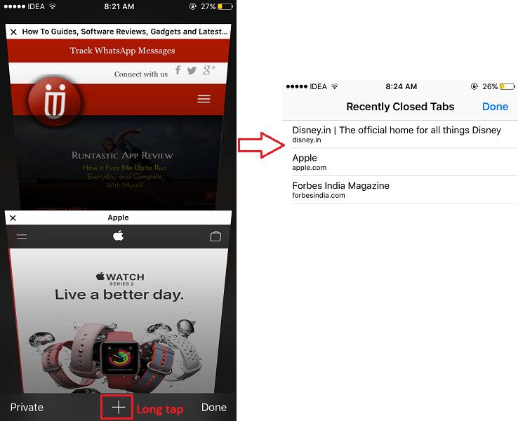 Open Recently Closed tabs in Safari on iPhone/iPad