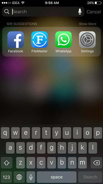 Spotlight Search History Cleared on iPhone/iPad