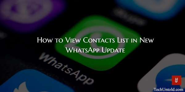 View Contacts List on WhatsApp