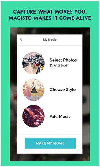 apps to add music to video clip - magisto