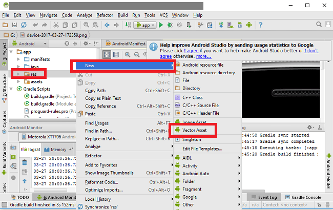 how to generate icons from Android Studio