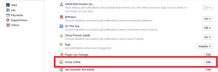how to stop group notifications on Facebook -group activity