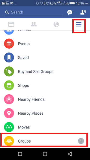 how to turn off notifications for particular group on Facebook - menu