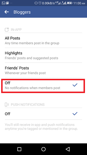 how to turn off notifications for particular group on Facebook - off