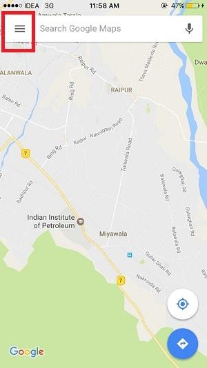share ride progress using google maps ios - hambuger icon