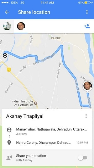 share ride progress using google maps iphone - ride progress