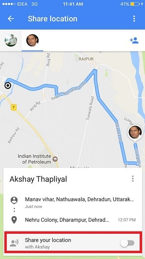 share ride progress using google maps iphone - share your location