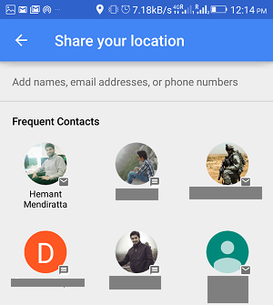 share trip progress using google maps on android - select contacts