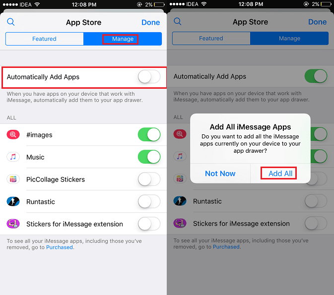 Add Installed Apps Automatically to Messages on iPhone
