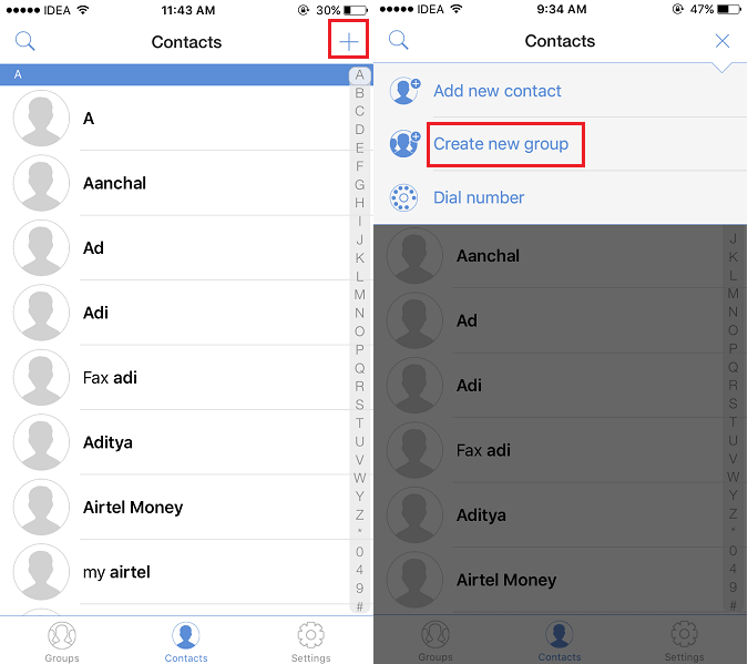 Create Group of Contacts on iOS device