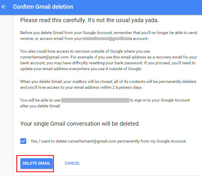 Delete Gmail Account Confirm
