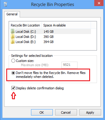 Directly Delete Files without moving them to Recycle Bin