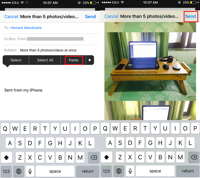 Email more than 5 photos or videos at once from iPhone Photos app