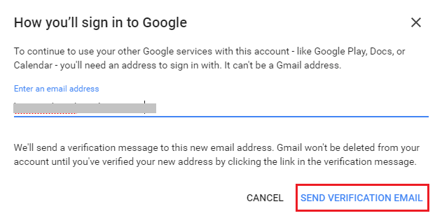 Enter Email ID to use for other Gmail services