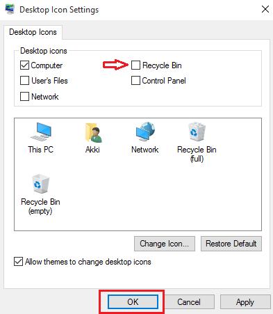 Hide Recycle Bin Icon in Windows 10