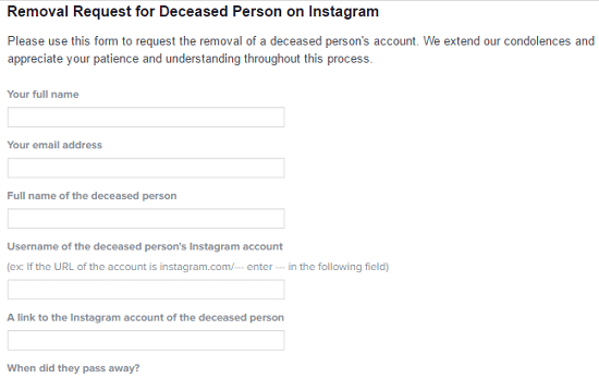 How to remove instagram account when someone has passed away