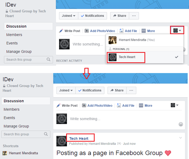 Post in Facebook group as a Facebook Page