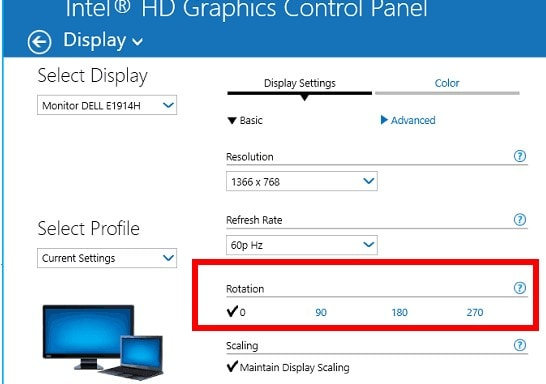 Rotate screen in Windows with Intel Graphics option