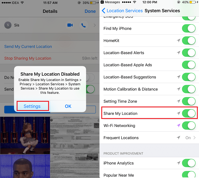 Send Location in Messages on iOS device