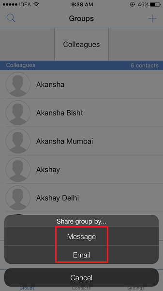 Share Group of Contacts from iPhone or iPad