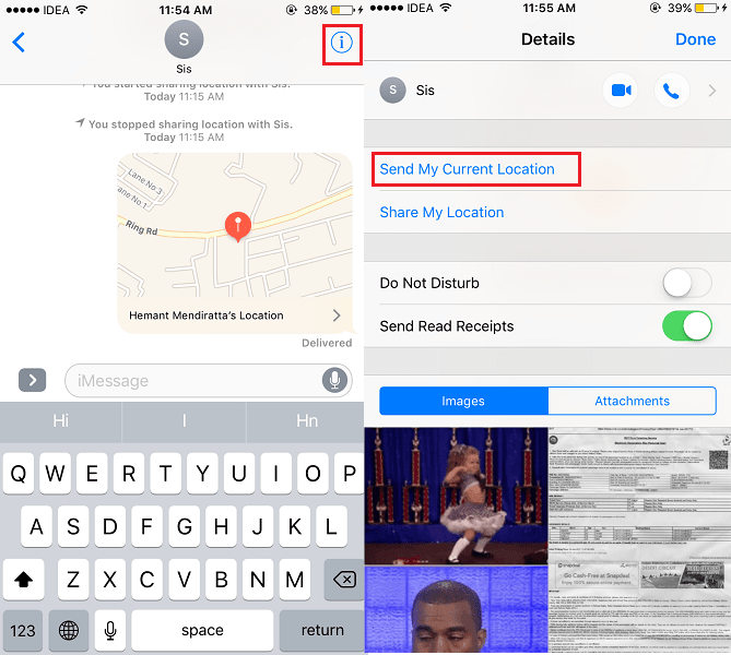 Share Location on iPhone using iMessage