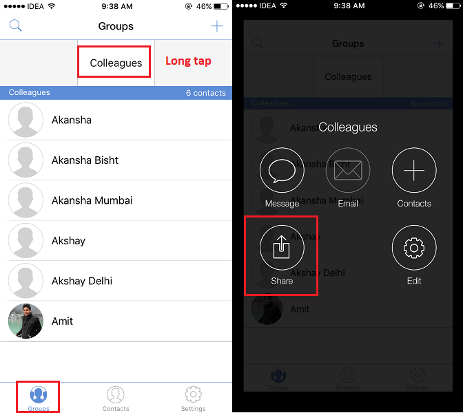 Share Multiple Contacts from iPhone at once