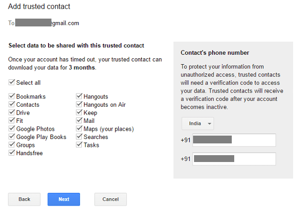 Trusted contacts who can access your google account data when you die - trusted contacts