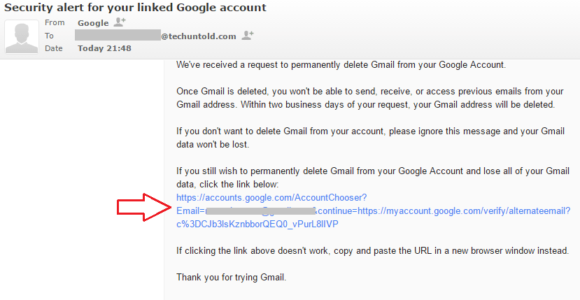 Verification Email to Delete Gmail Account