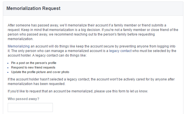 how someone can access Facebook account when person is dead